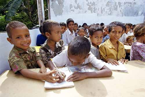 [Image: Some of the students at the school in Fatu-Ahi, East Timor.  (UN/DPI Photo# 203235C)]