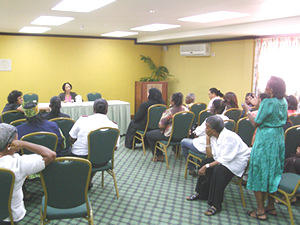 The Independent Expert holds a forum for women from different communities in Georgetown, Guyana, during her country visit